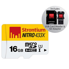 STRONTIUM TECHNOLOGY 16GB NITRO Micro SD w/ 3 in 1 Adaptor