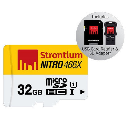 STRONTIUM TECHNOLOGY 32GB NITRO Micro SD w/ 3 in 1 Adaptor