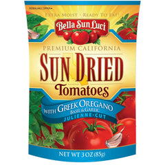 Bella Sun Luci Sun Dried Tomatoes Julienne Cut with Greek Oregano 3 oz (Resealable Pouch)