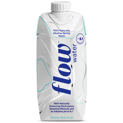 Flow Water, 100% Naturally Alkaline Spring Water in a Recyclable and Renewable Paperboard Carton, 500mL (Pack of 12)