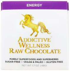 Addictive Wellness Raw Energy Chocolate - Sugar-Free, Vegan, Paleo, Gluten-Free