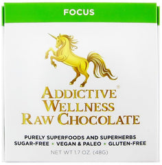 Addictive Wellness Raw Focus Chocolate - Sugar-Free, Vegan, Paleo, Gluten-Free