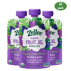 Zellee Organic Fruit Jel - Blueberry Grape - 12 Pouches