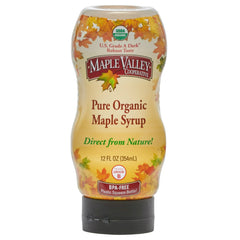 Maple Valley 12 oz Grade A Dark & Robust Organic Maple Syrup BPA Free Squeeze Bottle - 6 PACK
