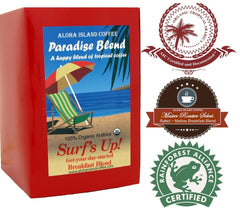 Aloha Island Coffee, Paradise Blend, Surf's Up! Breakfast Blend 18 ct. Coffee Pods