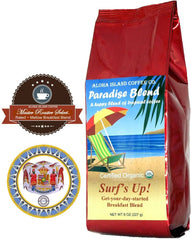 Aloha Island Coffee, Paradise Blend, Whole Bean Surf's Up! Breakfast Blend