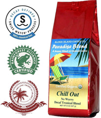 Aloha Island Coffee, Paradise Blend, Whole Bean Chill Out! No Worry Decaffinated Coffee
