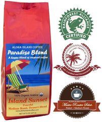 Aloha Island Coffee, Paradise Blend, Island Sunset, Medium Roast Ground Coffee