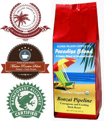 Aloha Island Coffee, Paradise Blend, Bonzai Pipeline Dark Roast, Ground Coffee