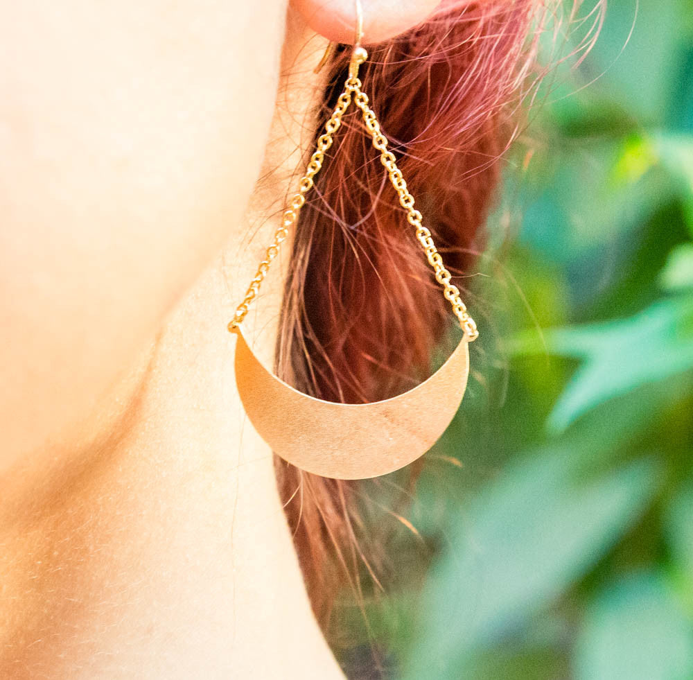 Moon Chain Earrings
