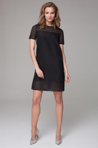 Black Classic Short Sleeves Mini Dress