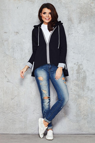 Cool Black Parabola Hemline Hoodie with Contrast Details