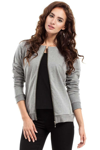Grey Full Zipp Bomber Jacket