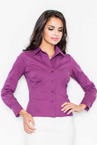 Collared Aubergine Shirt with Top Stitch Bust Seams