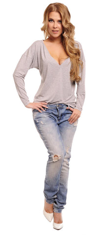 Light Grey Oversized Deep Loose Neckline Blouse
