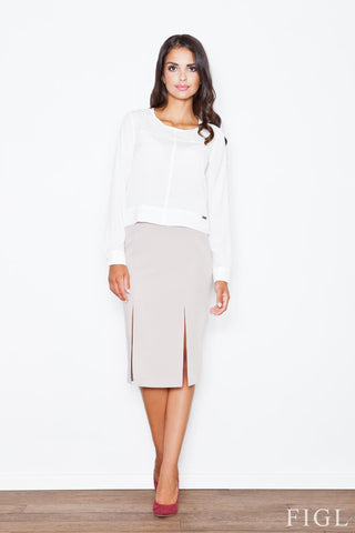 Beige Business Style Pencil Skirt
