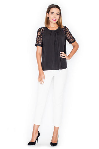 Black Romantic Lace Sleeves Back Closure Blouse