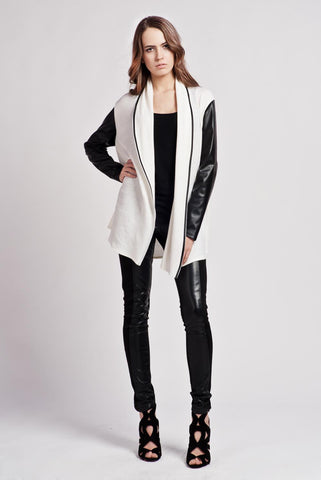 White Stylish Zipper Closure Cardigan with Leather Sleeves
