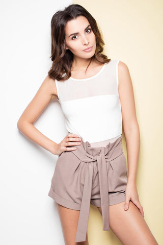 Mocca High Wrinkled Waist Shorts with Self Tie Belt