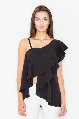 Black Asymmetrical One Shoulders Strap Dress with a Frill