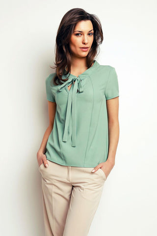 Light Green Self Tie Bow Short Sleeves Blouse