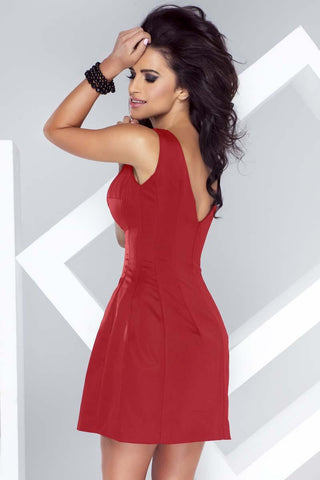 Red Flared Open Back Mini Dress