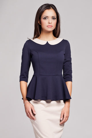 Navy Blue Seam Top with Frilled Hemline and Elbow Length Sleeves