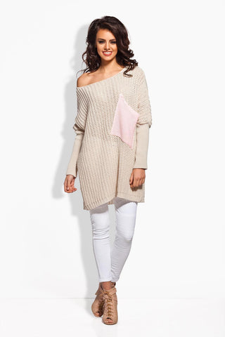 Beige Oversized Sweater with Big Chest Pocket