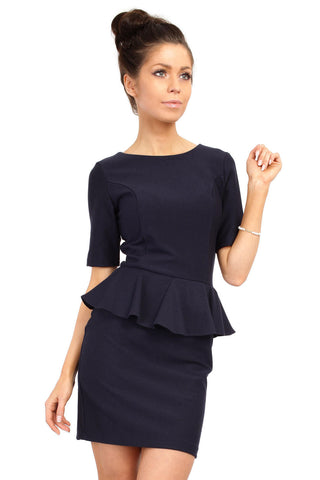 Navy Bateau Neck Shift Dress with Frilled Bodice