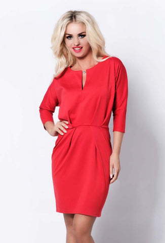 Red Tulip Shape Mini Dress