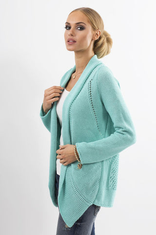 Mint Green Cardigan with Asymmetrical Lapels
