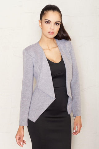 Grey Long Lapels Blazer with V-Front Hemline