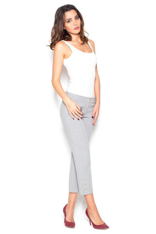 Grey 7/8 Simple Pencil Pants with Gold Buttons