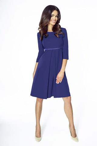 Dark Blue Flared 3/4 Sleeves Cocktail Dress
