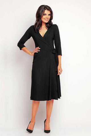 Black Wrap Front Belted Midi Dress