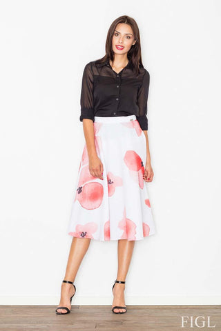 White&Pink Midi Flared Skirt
