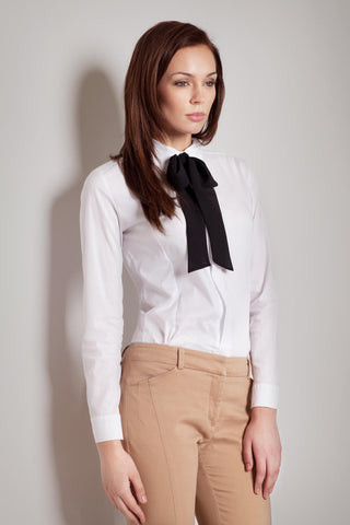 Contrast Black Bow Seam White Blouse with Cuffed Long Sleeves