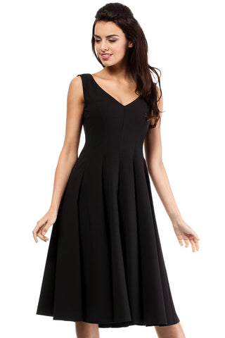 Black Sleeveless Elegant Flared Cocktail Dress