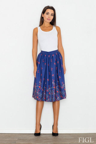 Blue High Waist Midi Floral Pattern Skirt