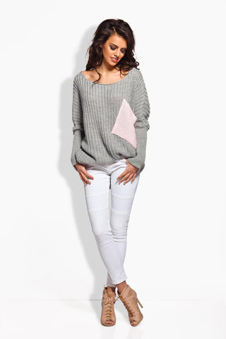Light Grey Oversized Sweater with Big Chest Pocket
