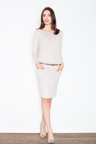 Beige Office Style Dress with Pockets