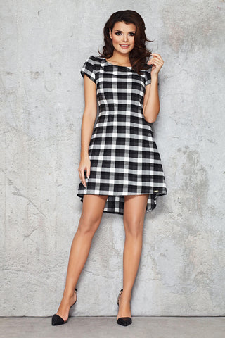 Black and White Checkered Rib Seam Dress with Parabolic Hemline