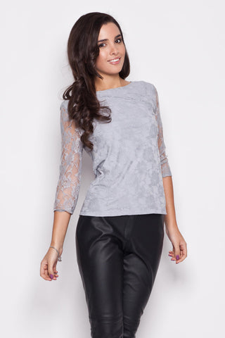 Grey Bateau Neckline Floral Lace Blouse with 3/4 Sleeves