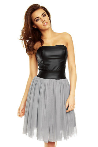 Grey Tulle Dress with Bandeau Leather Bodice