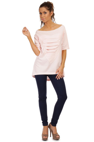 Pink Long T-shirt with Loose Neckline