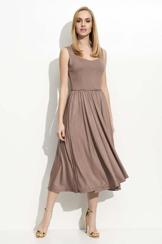 Cappuccino Wide Straps Midi Dress