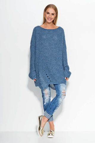 Blue Oversized Sweater with Trendy Holes