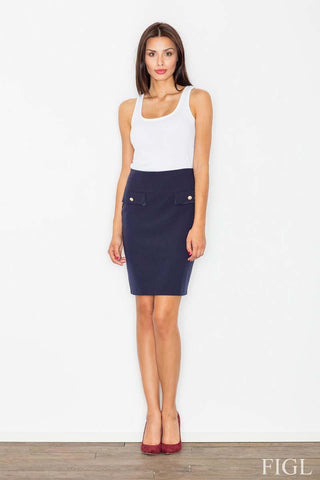 Dark Blue Elegant Pencil Skirt