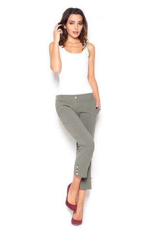 Olive Green 7/8 Simple Pencil Pants with Gold Buttons