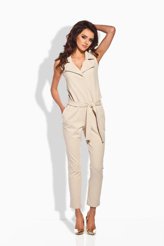 Beige Elegant Ladies Jumpsuit with Belt